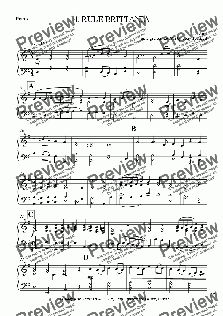page one of the Piano part from 4. RULE BRITTANIA