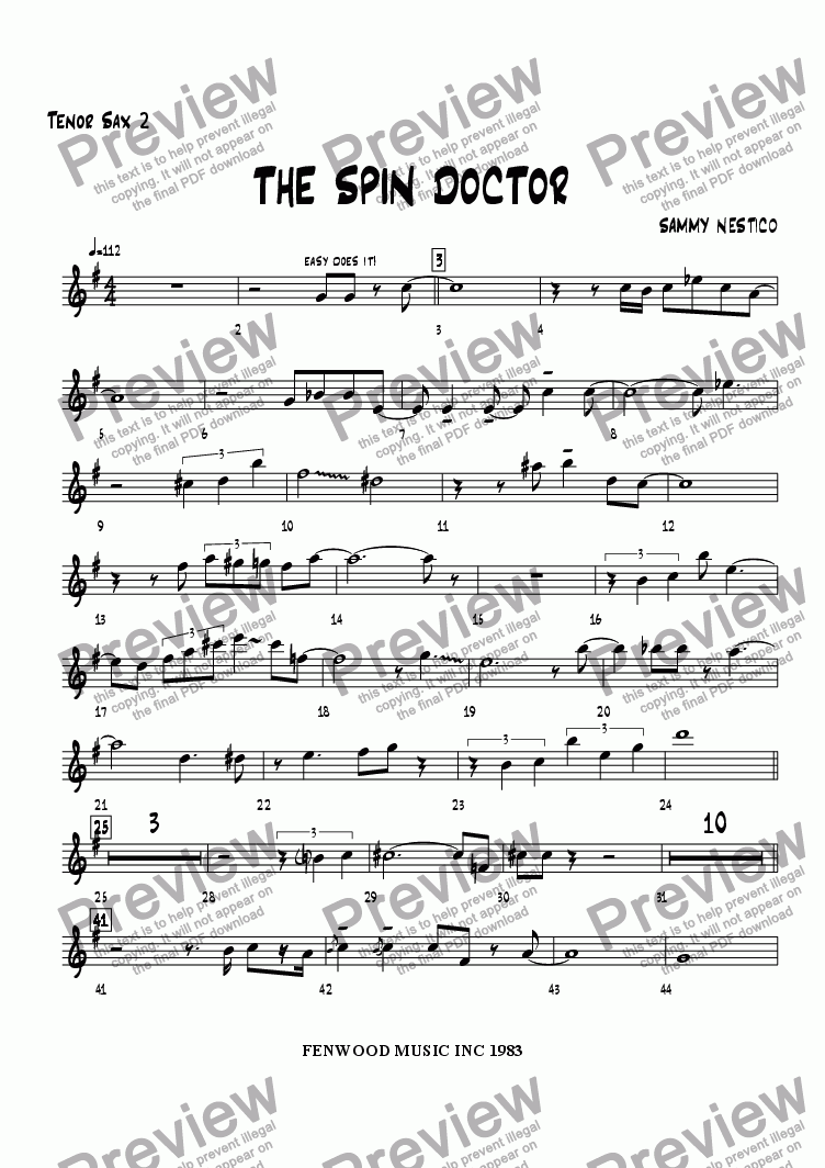 page one of the Tenor Sax 2 part from The Spin Doctor