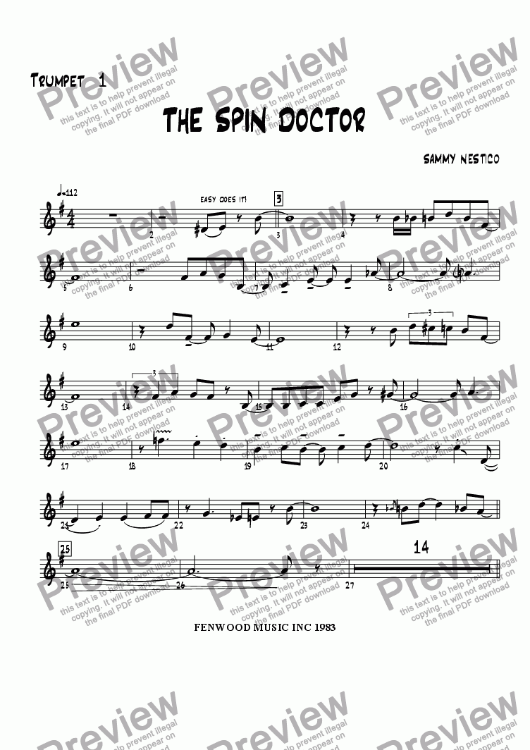 page one of the Trumpet 1 part from The Spin Doctor