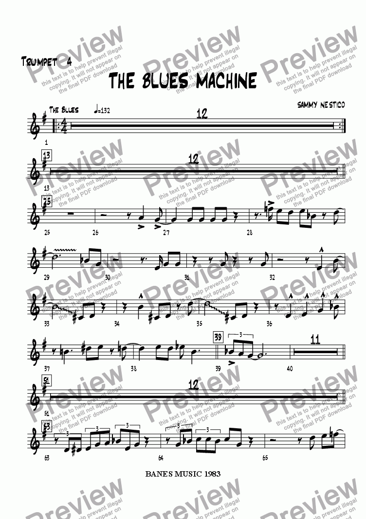 page one of the Trumpet 4 part from The Blues Machine
