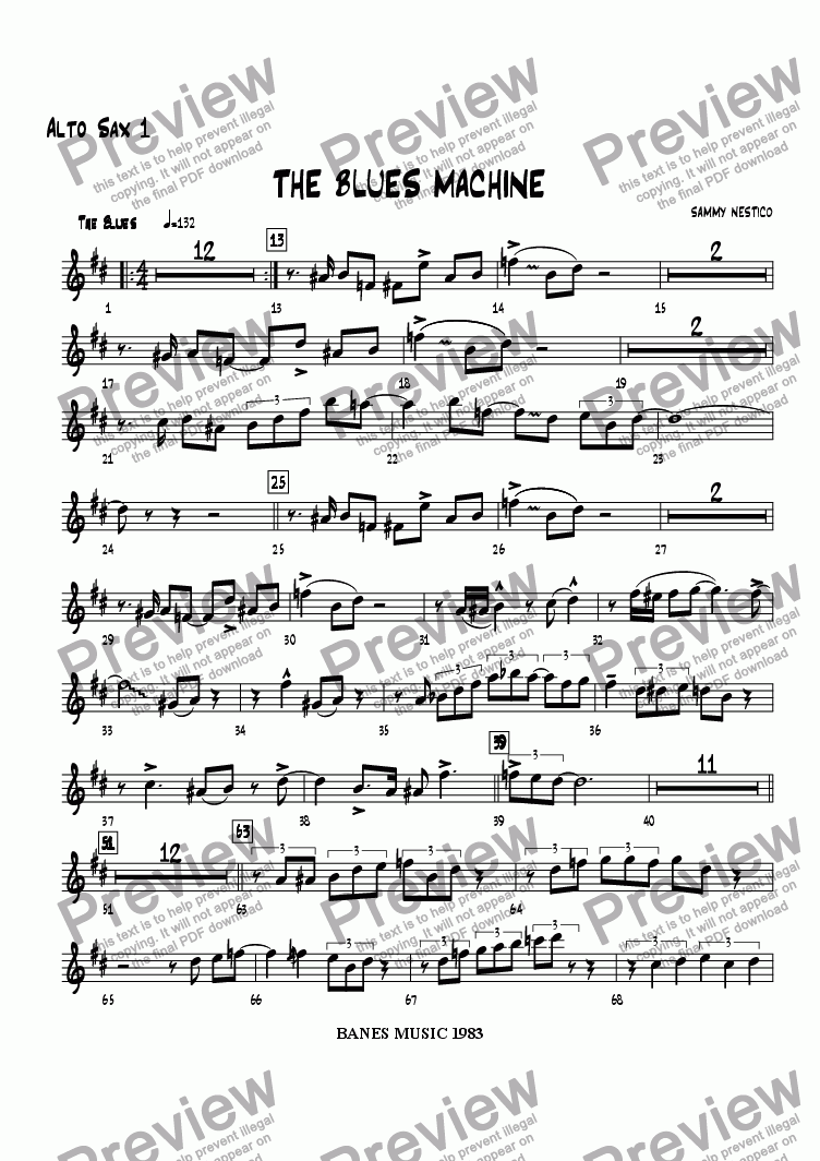 page one of the Alto Sax 1 part from The Blues Machine