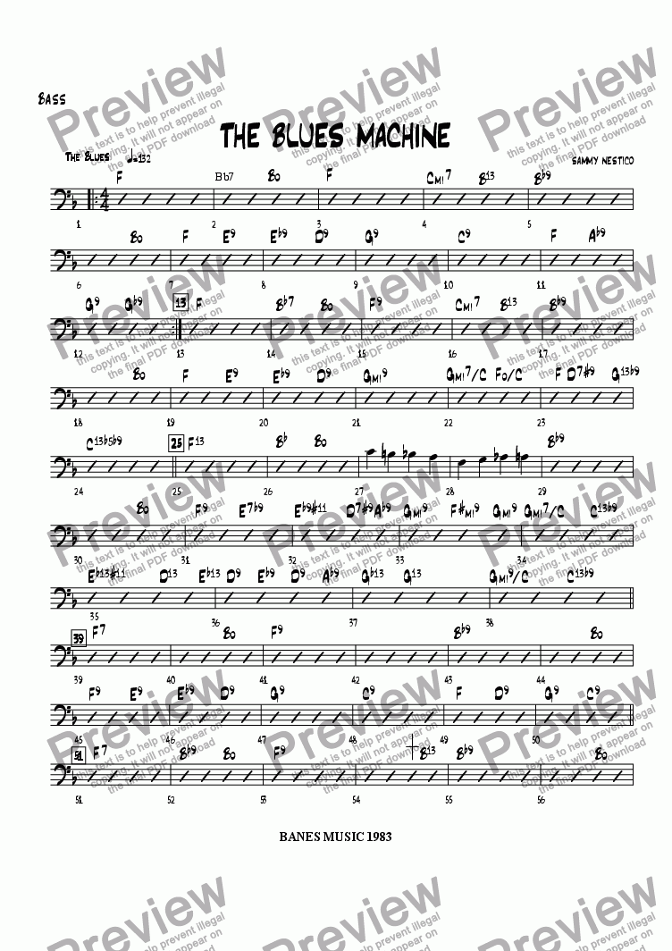 page one of the Bass part from The Blues Machine