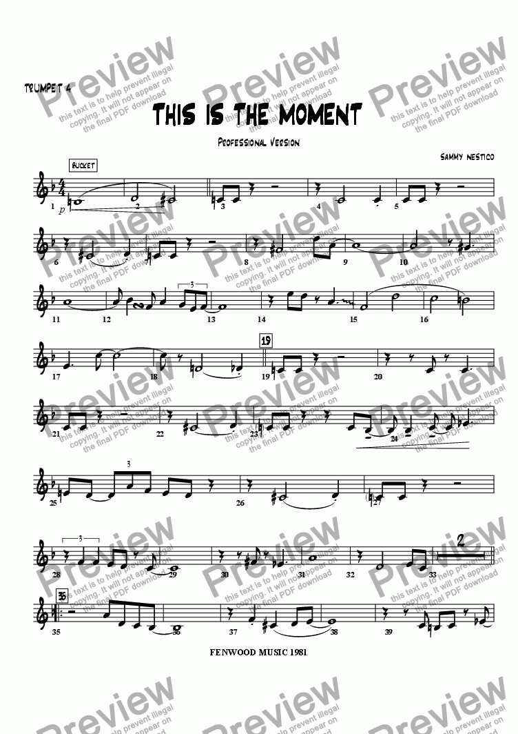 page one of the Trumpet 4 part from This Is The Moment  (professional edition)