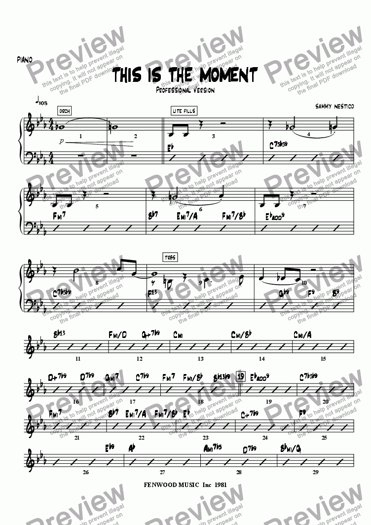 page one of the Piano part from This Is The Moment  (professional edition)
