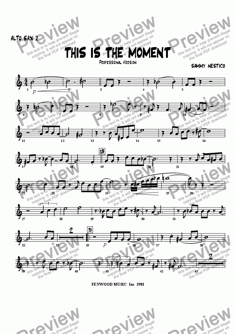 page one of the Alto Sax 2 part from This Is The Moment  (professional edition)