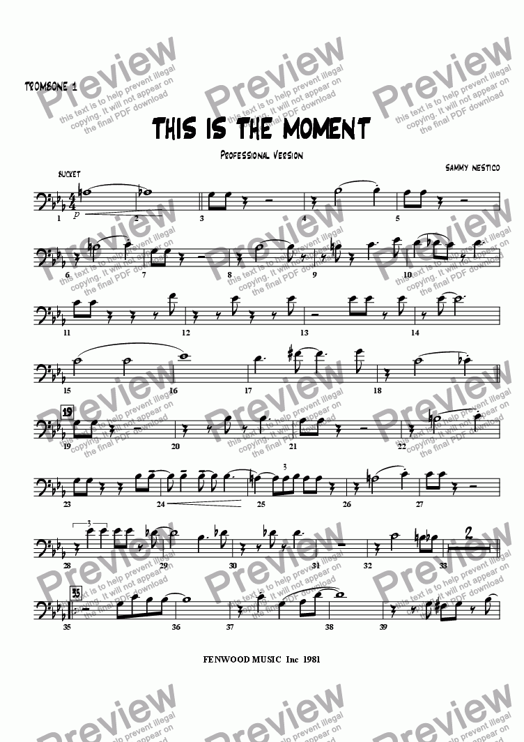page one of the Trombone 1 part from This Is The Moment  (professional edition)