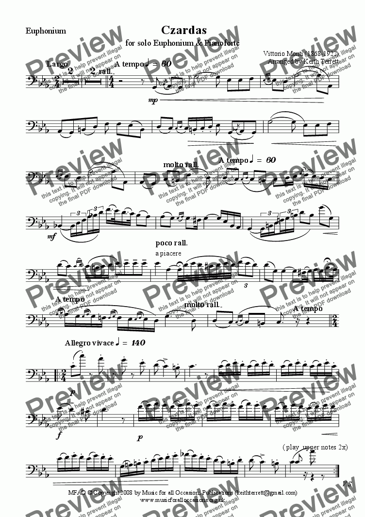 page one of the Euphonium part from Czardas for solo Euphonium  & Pianoforte