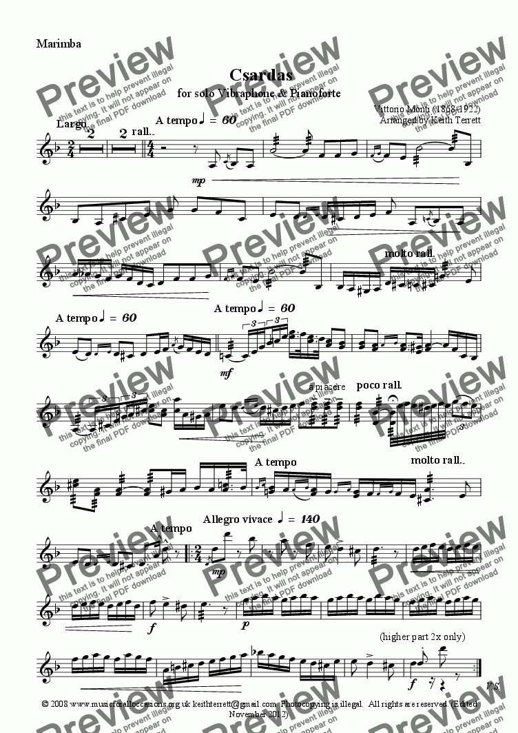 page one of the Marimba part from Czardas for Marimba & Piano