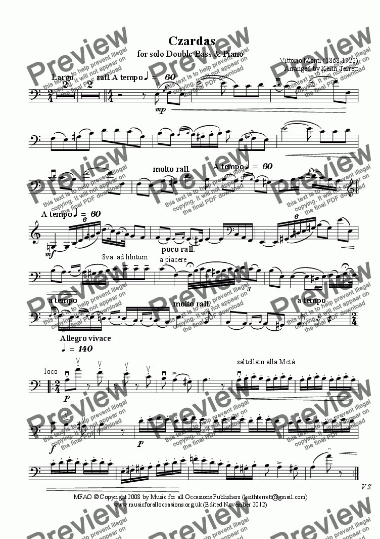 page one of the Double Bass part from Czardas for Double Bass & Piano