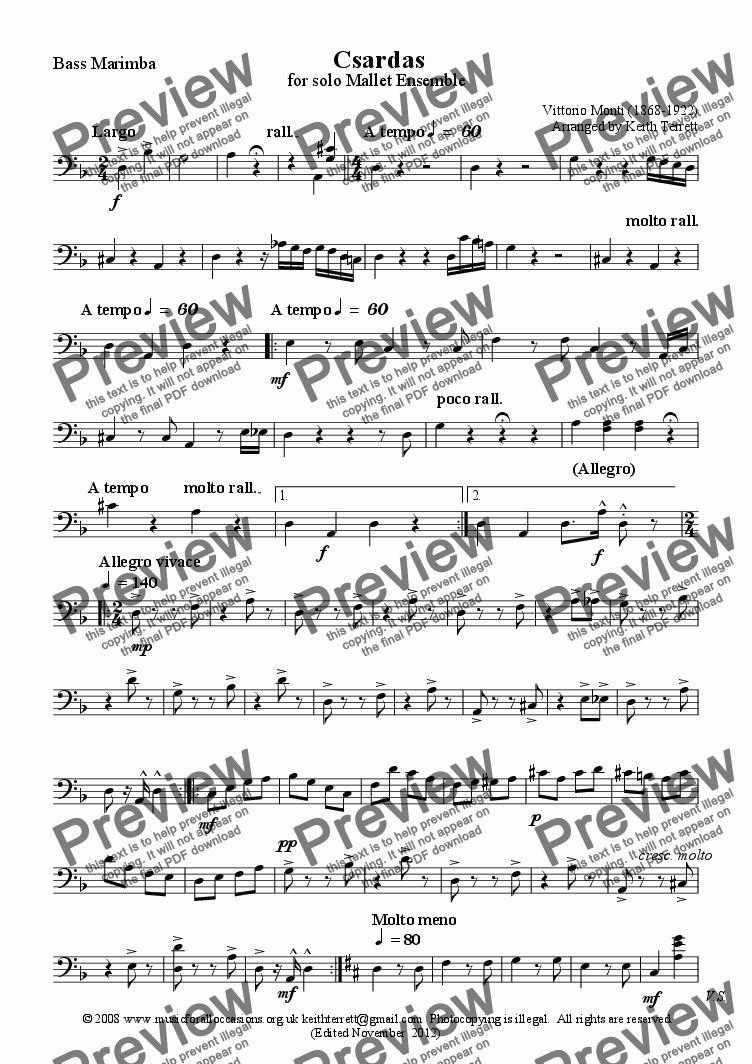 page one of the Bass Marimba part from Czardas for Mallet Ensemble (Marimba, Vibes & B.Marimba)