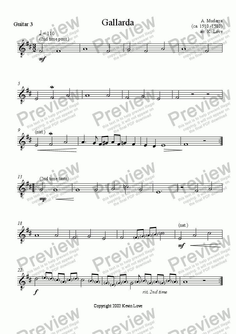 page one of the Guitar 3 part from Gallarda