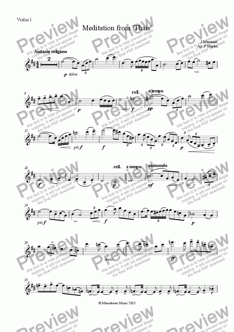 page one of the Violin I part from Meditation from 'Thais'