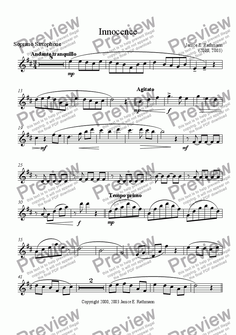 page one of the Soprano Saxophone part from Innocence (Saxophone Quartet)