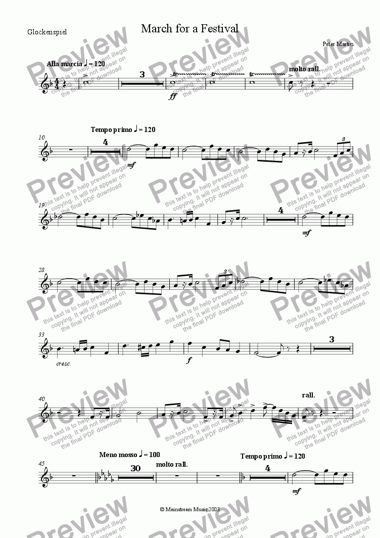 page one of the Glockenspiel part from March for a Festival