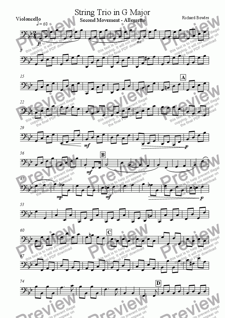 page one of the Violincello part from String Trio in G Major - Second Movement