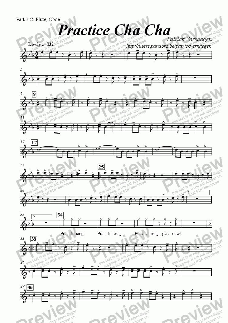 page one of the part 2 in C (upper octave): Flute, Oboe part from Practice Cha Cha (for youth band)