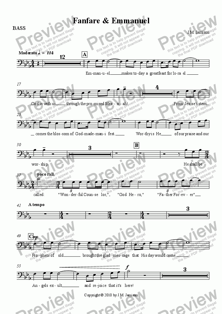 page one of the BASS part from Fanfare & Emmanuel