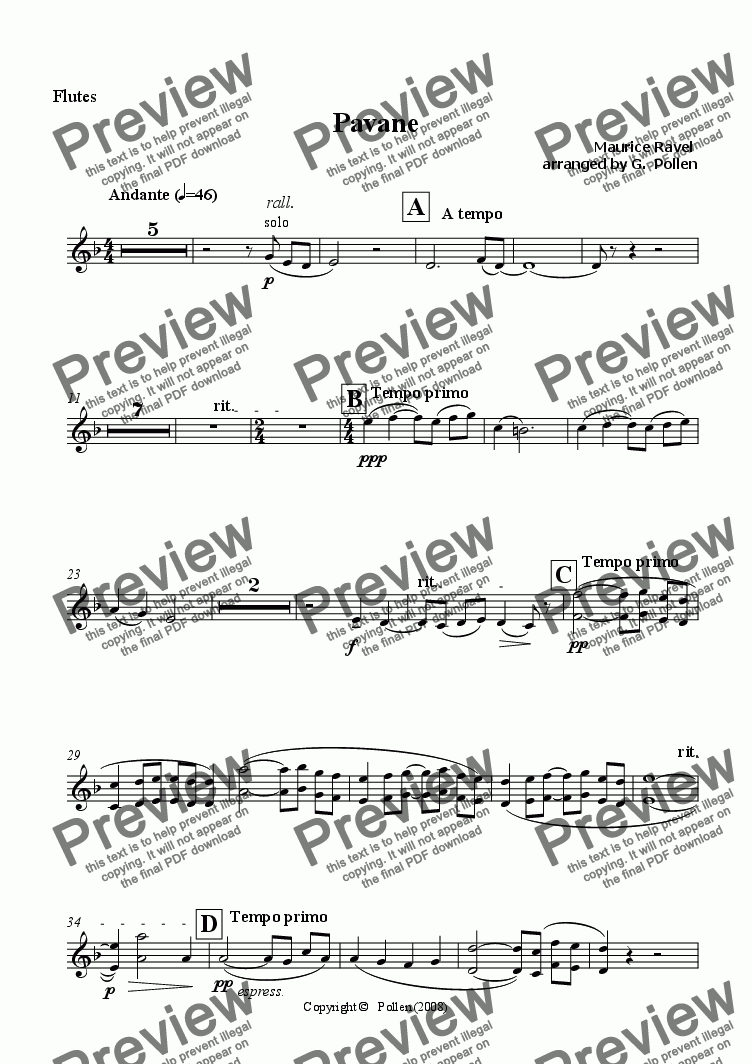 page one of the Flutes part from Pavane pour une infante defunte (CB)