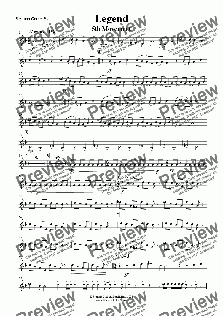 page one of the Repiano Cornet in Bb part from Legend (5th Movement)