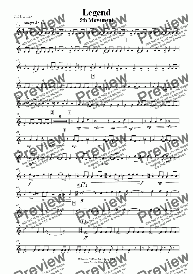 page one of the 2nd Horn in Eb part from Legend (5th Movement)