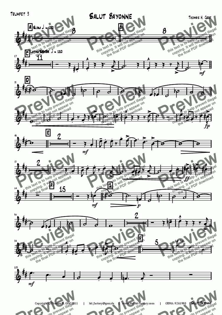 page one of the Trumpet 3 part from Salut Bayonne - Samba - Big Band
