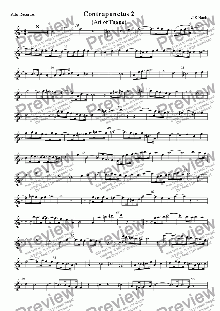 page one of the Treble (alto) recorder part from Art of Fugue: Contrapunctus 2