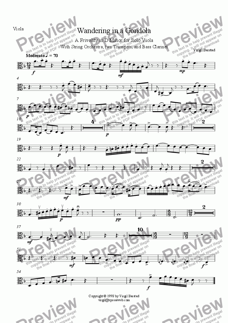page one of the Viola part from Wandering in a Gondola