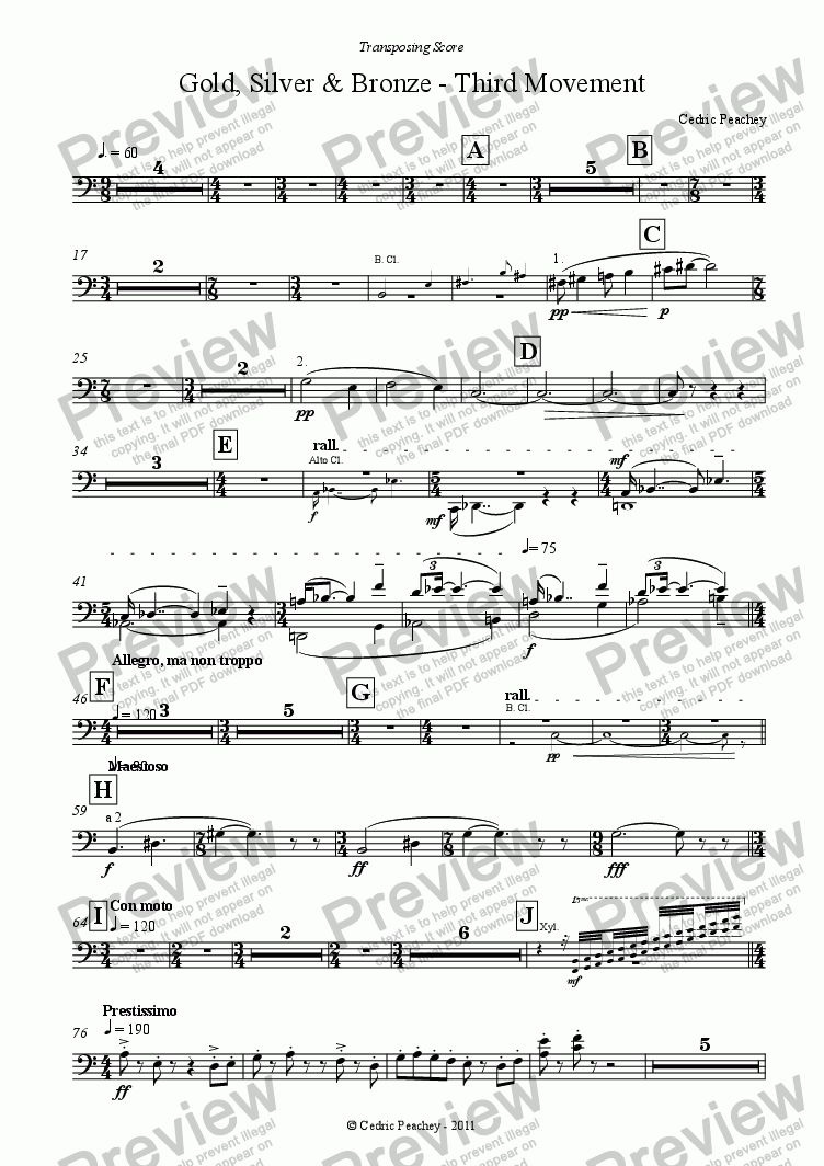 page one of the Bassoons 1 & 2 part from Gold, Silver & Bronze - Third Movement for Wind Orchestra
