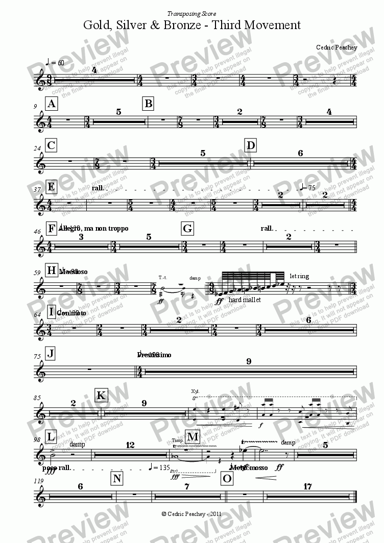 page one of the Tubular Bells part from Gold, Silver & Bronze - Third Movement for Wind Orchestra