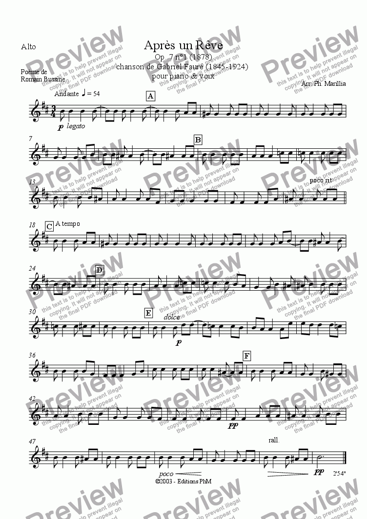 page one of the Alto Sax part from Fauré - Après un Rêve (Sax Quartet)