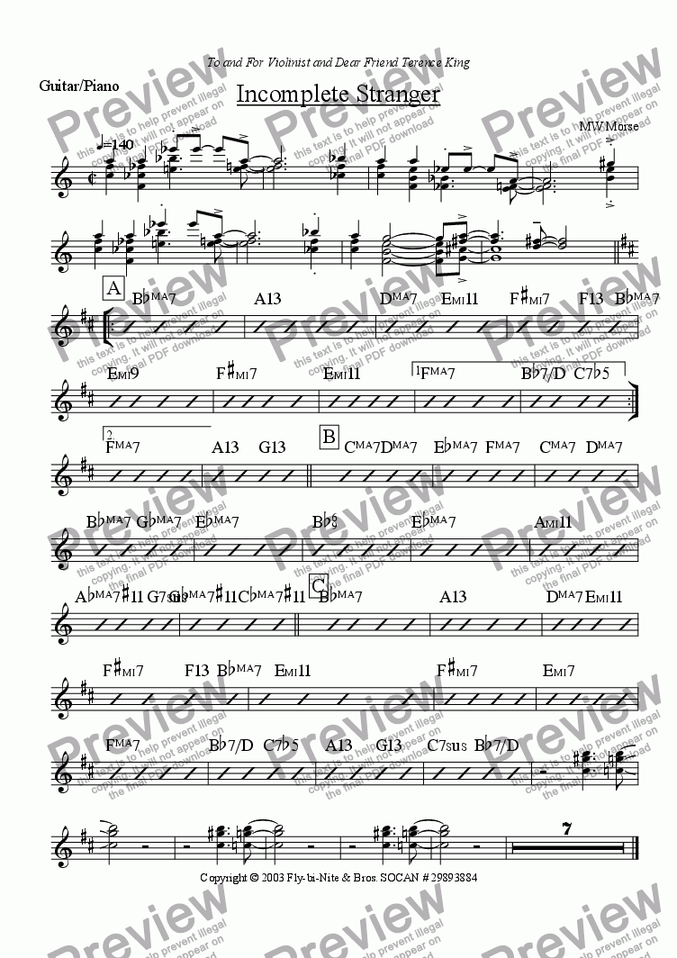page one of the Chord Instrument part from Incomplete Stranger