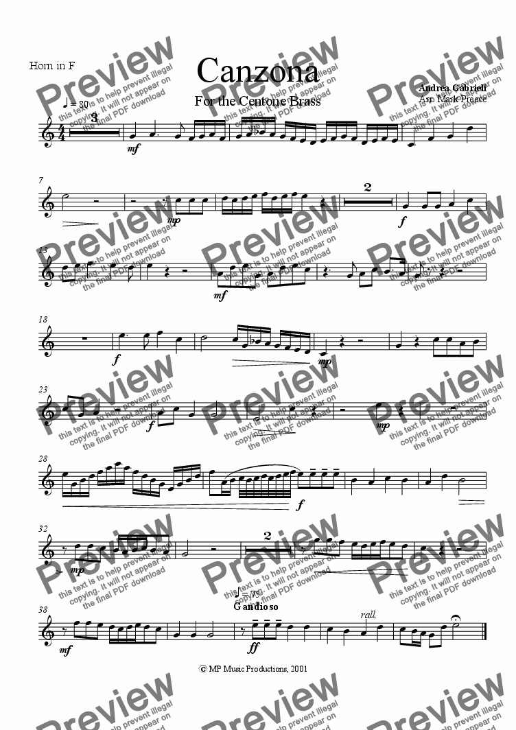 page one of the horn part from Gabrieli A - Canzona