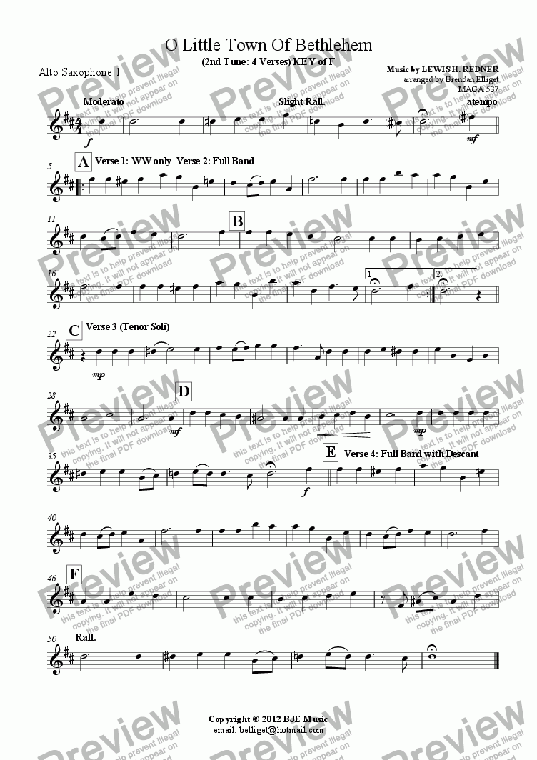 page one of the Alto Saxophone 1 part from O Little Town Of Bethlehem (2nd Tune: 4 Verses) KEY of F - Concert Band