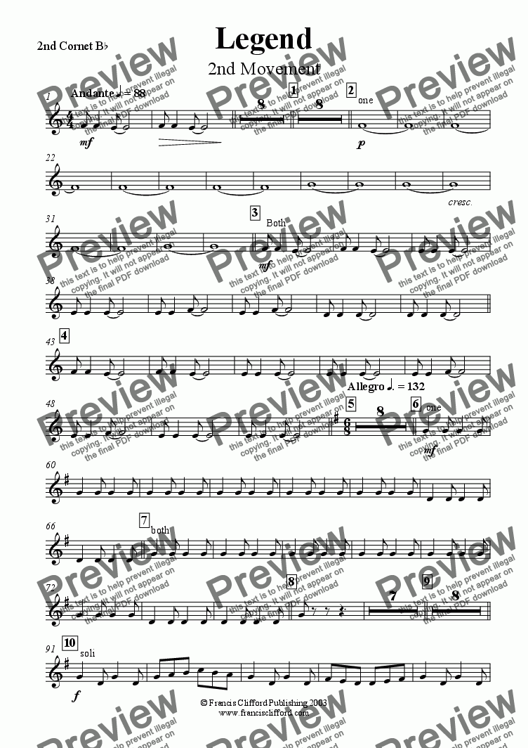 page one of the 2nd Cornet in Bb part from Legend (2nd Movement)