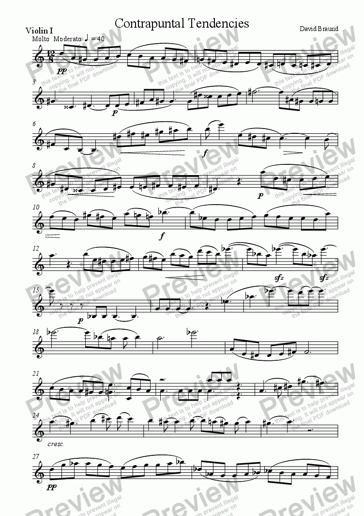 page one of the violin1 part from Contrapuntal Tendencies