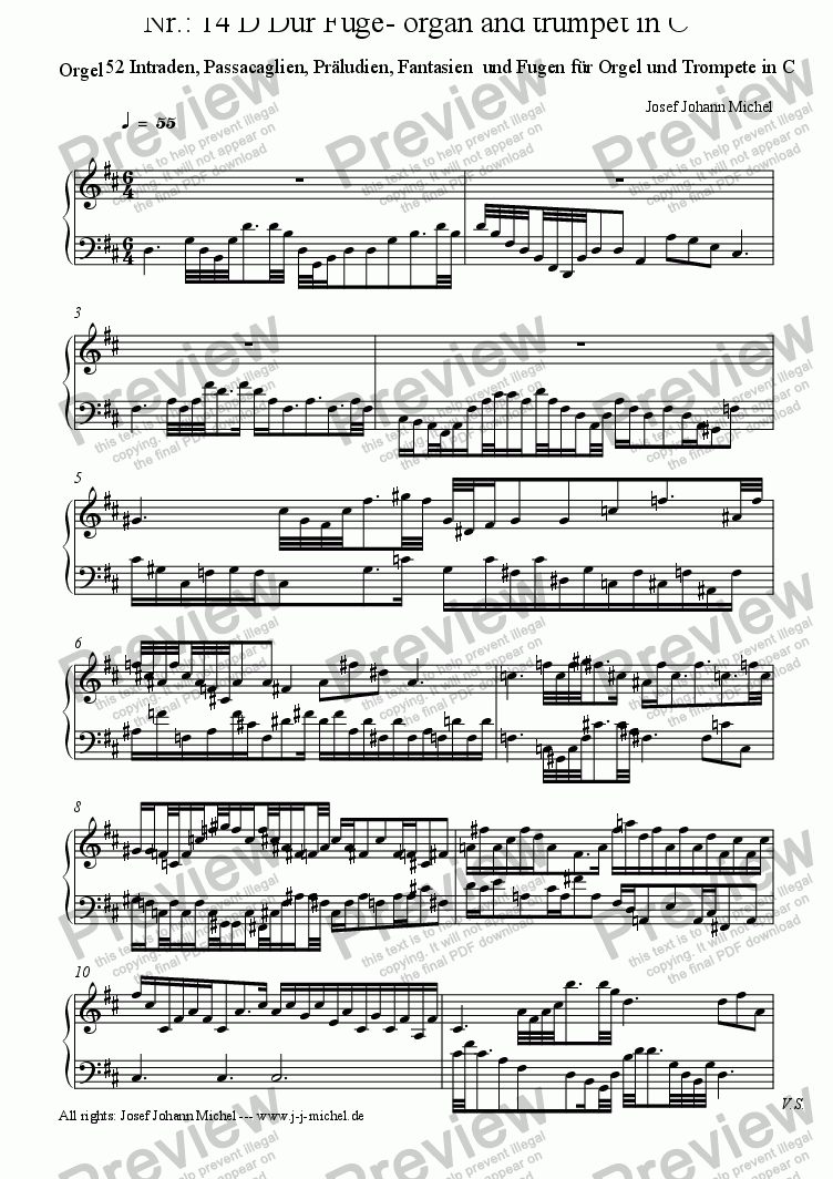 page one of the Orgel part from Nr.: 14 D Dur Fuge- organ and trumpet in C