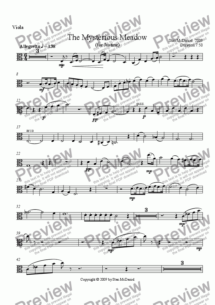 page one of the Viola part from The Mysterious Meadow