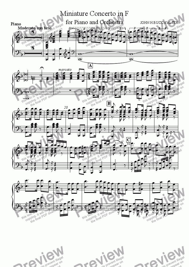 page one of the Piano part from Miniature Piano Concerto in F (1st  Movement)