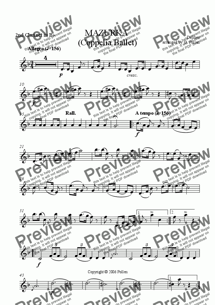 page one of the 2nd Clarinet in Bb part from Mazurka (Coppelia Ballet) (CB)