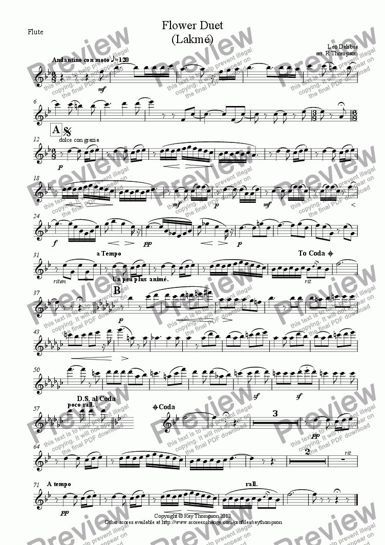 page one of the Flute part from Flower Duet (Lakmé)