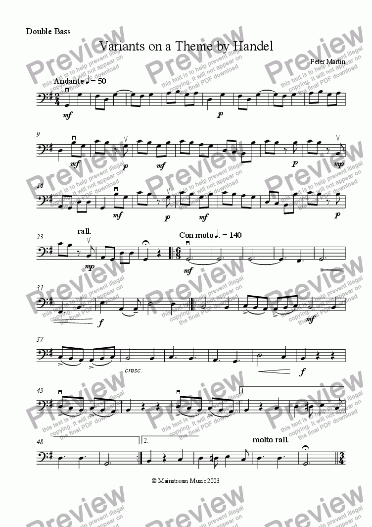 page one of the Bass part from Variants on a Theme by Handel
