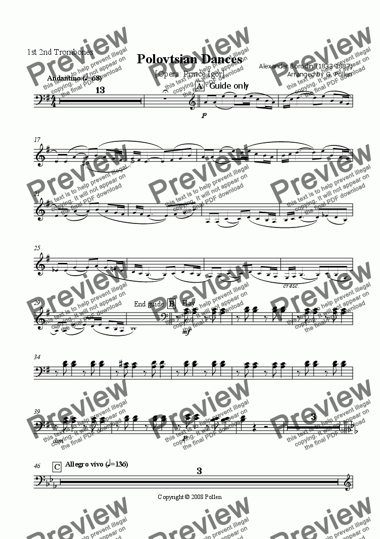 page one of the 1st 2nd Trombones part from Polovtsian Dances [Prince Igor] (CB)