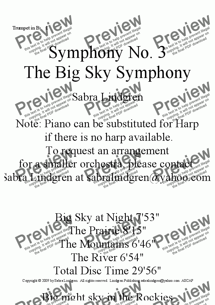 "page one of the Trumpet in B^b^ ^ I part from Big Sky at Night, Symphony No. 3, ""The Big Sky Symphony"""