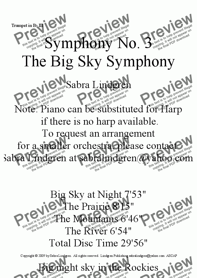 "page one of the Trumpet in B^b III part from Big Sky at Night, Symphony No. 3, ""The Big Sky Symphony"""