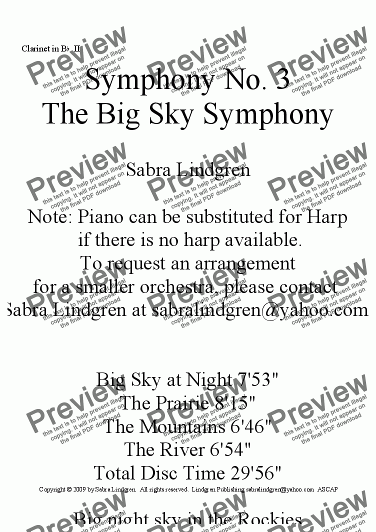 "page one of the Clarinet in B^b^ II part from Big Sky at Night, Symphony No. 3, ""The Big Sky Symphony"""