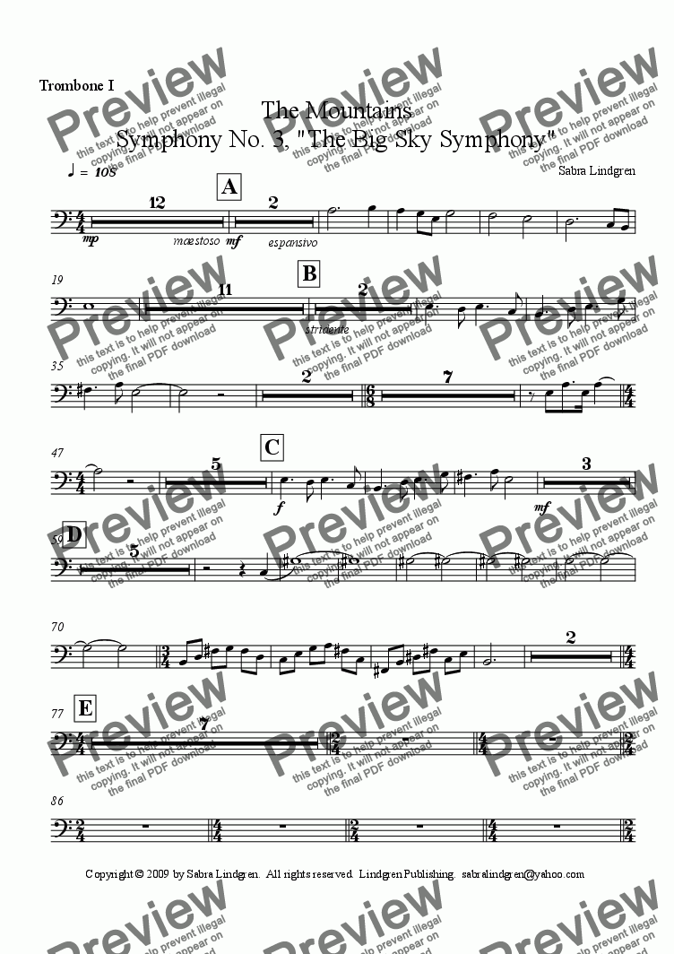 "page one of the Trombone I part from The Mountains, Symphony No. 3, ""The Big Sky Symphony"""