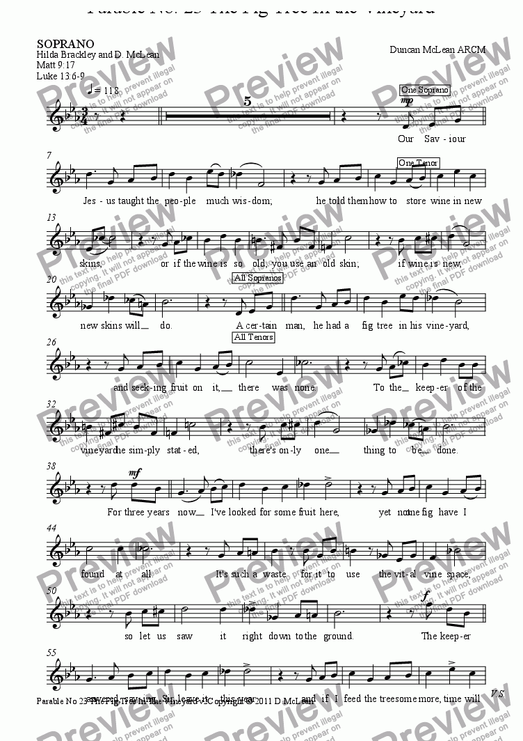 page one of the SOPRANO part from Parable No. 23 - The Fig Tree In the Vineyard [print up to 30]