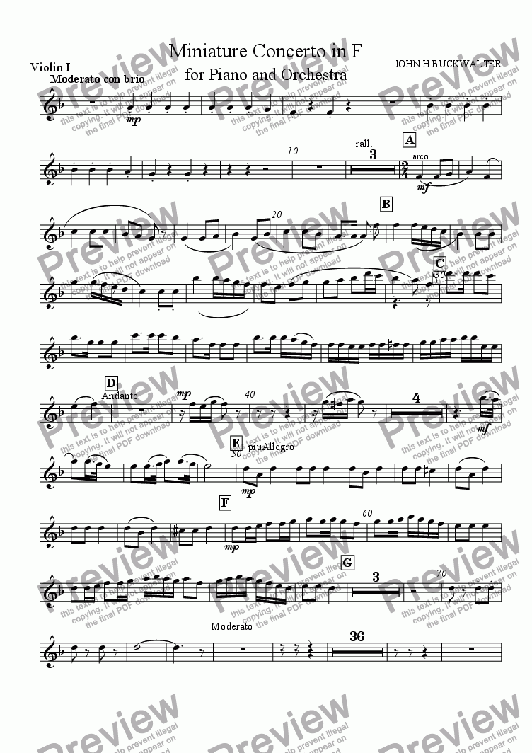 page one of the Violins I part from Miniature Piano Concerto in F (1st  Movement)