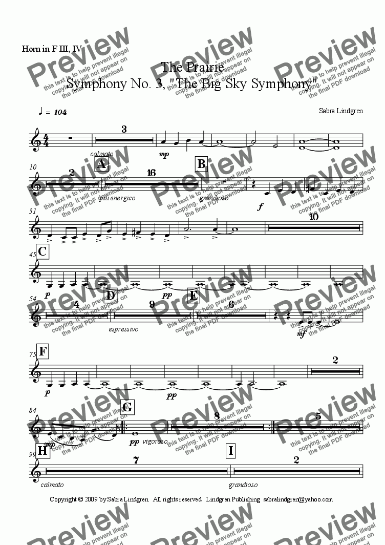 "page one of the Horn in F III, IV part from The Prairie, Symphony No. 3, ""The Big Sky Symphony"""