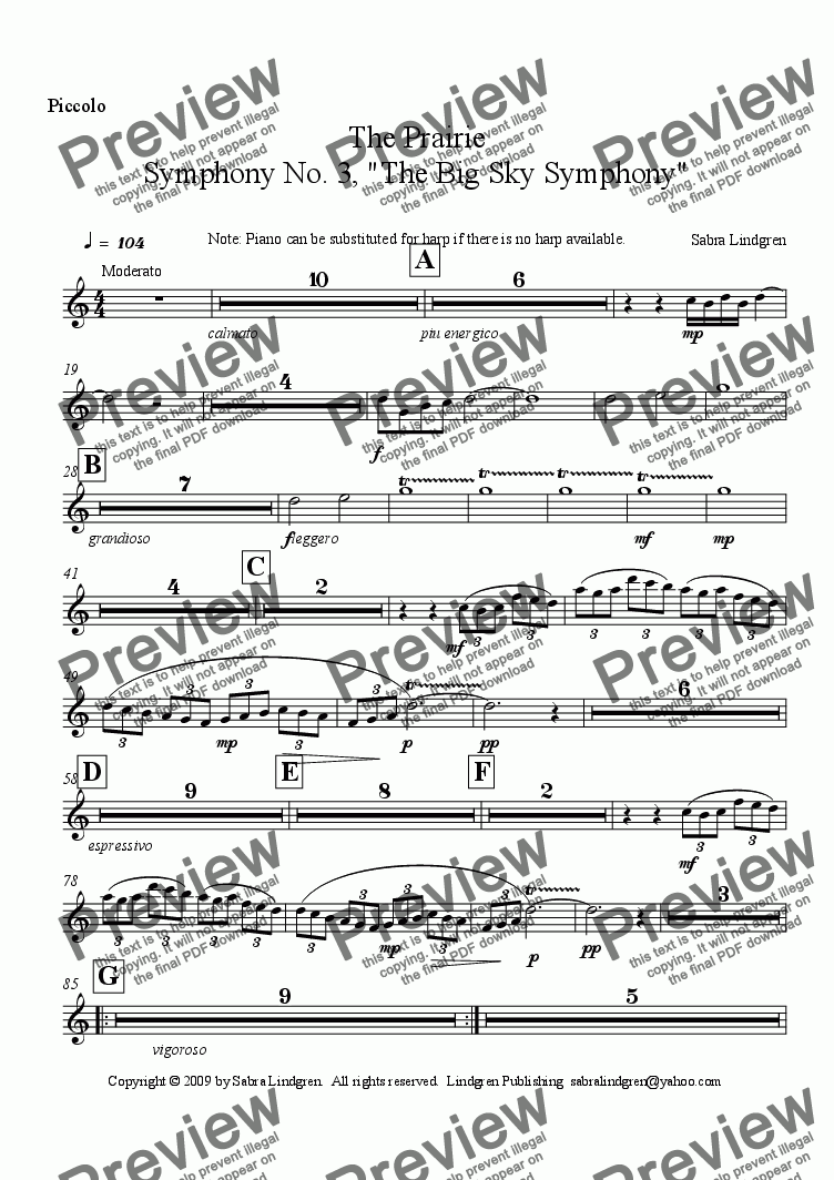 "page one of the Piccolo part from The Prairie, Symphony No. 3, ""The Big Sky Symphony"""